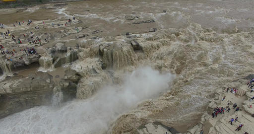 Aerial of hukou waterfall Footage