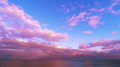 Cloudy Sunset Sky over the Sea Footage