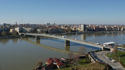 Bridge over river Danube entering city of Novi Sad Footage