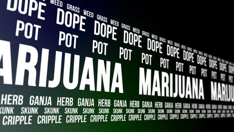 Marijuana and Slang Words Scrolling Animation