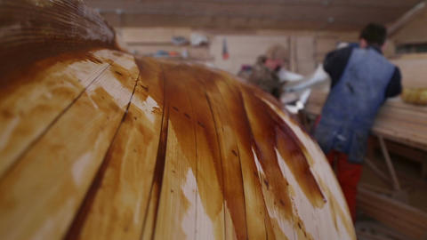 Construction of boats at the shipyard, the coating resin Live Action
