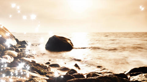 Lens defect. Shining and glittering sea waves and boulders sticking up from Filmmaterial