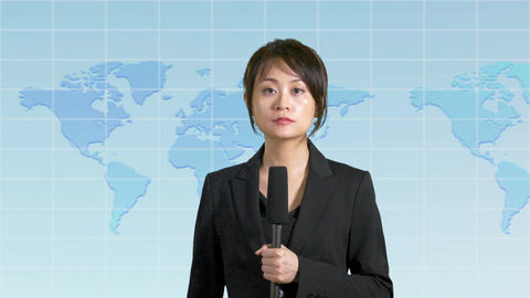 Asian Chinese news presenter with map background Live Action