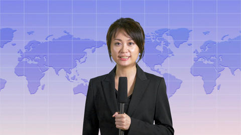 Cheerful Asian Chinese news presenter with map background 画像