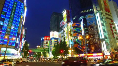 Side tracking shot of Akihabara shopping area Tokyo Japan Footage