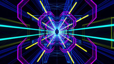 3D Colorful Neon Tunnel Loopable Motion Graphic Background Videos animados