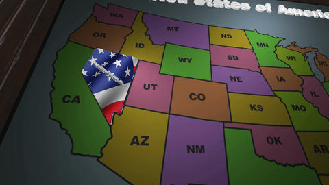 Nevada pull out from USA states abbreviations map Footage
