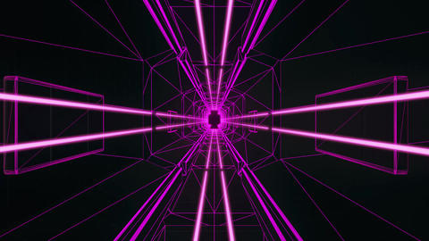 3D Fuchsia Tron Style Tunnel Loopable Motion Graphic Background Animation