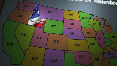 Idaho pull out from USA states abbreviations map Image