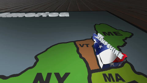 New Hampshire pull out from USA states abbreviations map Footage