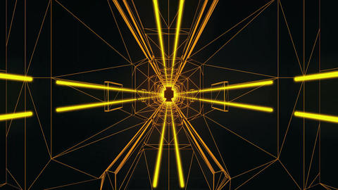 3D Gold Tron Style Tunnel Loopable Motion Graphic Background Animation