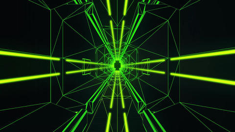 3D Green Tron Style Tunnel Loopable Motion Graphic Background Animation