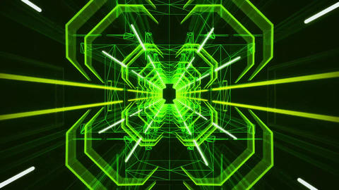 3D Green Neon Tunnel Loopable Motion Graphic Background Animation