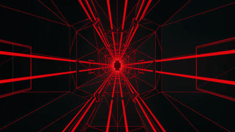 3D Red Tron Style Tunnel Loopable Motion Graphic Background Animation