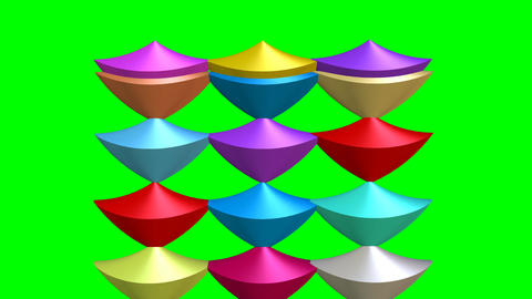 Intro animation with multicolored cone set in 3d design on green screen. Cones CG動画素材