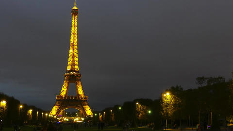PARIS, FRANCE - OCTOBER 8, 2017. Time lapse of the illuminated Eiffel tower at Footage