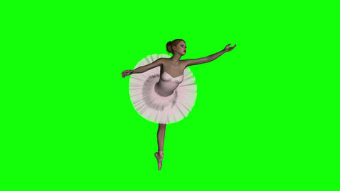 ballerina, animation, hromakey,green screen,3d ,isolated Stock Video Footage