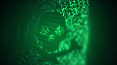 Green skull shape of binary code on screen loop animation Animation