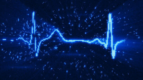 Blue EKG electrocardiogram waveform on monitor loop animation Animation