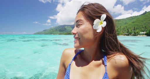French polynesia tahiti flower woman relaxing on ocean... Stock Video Footage
