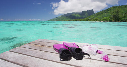 Vacation travel landscape background with snorkeling gear mask and fins Footage