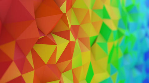 Polygonal rainbow gradient surface loopable 3D animation CG動画素材