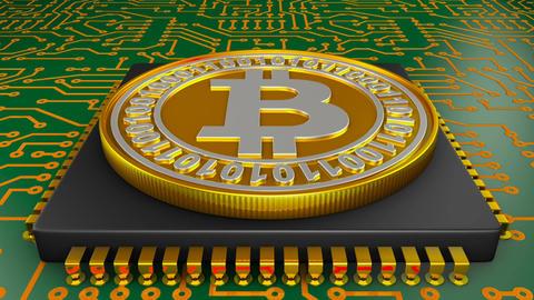 Processor and bitcoin01 Animación