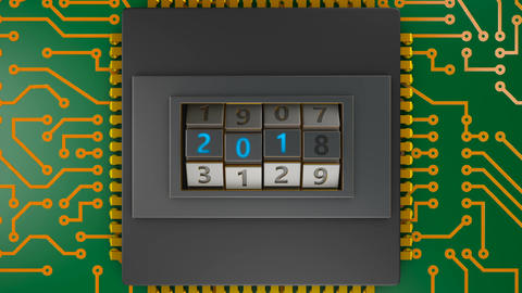 Processor with code lock 2018 01 CG動画素材