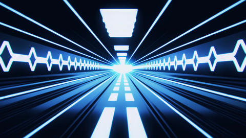 3D Blue Sci-Fi Tron Tunnel Loopable Motion Background Animation