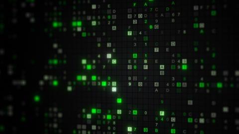 Glowing green digital code on computer screen loop animation Animation