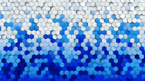 Blue white gradient hexagons turning loopable 3D animation Animation