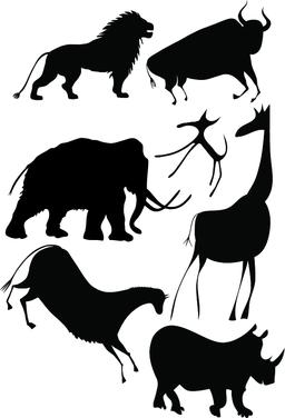 Various animals a la cave painting - vectorillustration ベクター