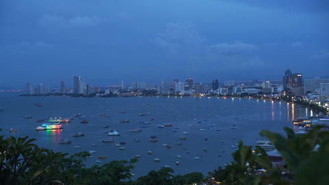 Lots of ships in bay of Pattaya Thailand during evening Footage