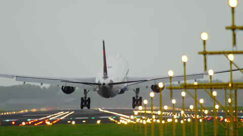 Delta Airlines Airbus 330 landing Live Action