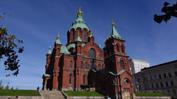 Uspenski Cathedral building establishing shot, old church from red brick Footage