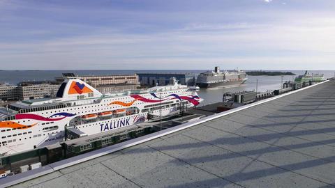 Large Tallink cruiseferry vessel at west terminal of Helsinki, overhead shot Footage