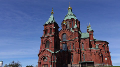 Cinematic orbiting shot of Uspenski Cathedral at Helsinki, view from ground Footage
