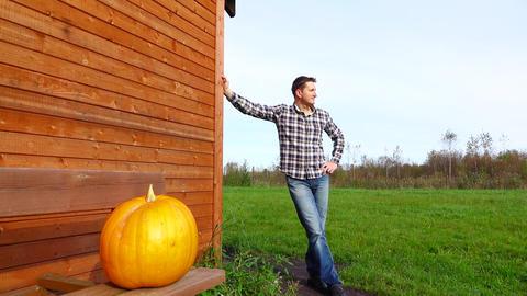 Orange mature pumpkin on wood bench, man pose on background GIF