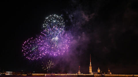 Bright and colourful balls, New Year firework display at Peter and Paul fortress Live Action