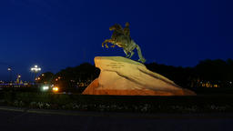 Night time shot of Bronze Horseman, famous Peter The Great sculpture Footage