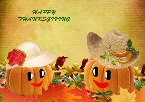 Happy Thanksgiving. Collage of colorful autumn leaves, pumpkins Fotografía