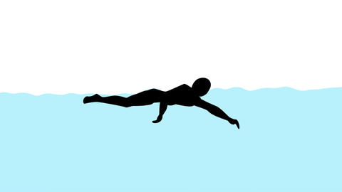 Swimming animation Stock Video Footage