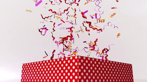 Colorful confetti fly out of box Animation