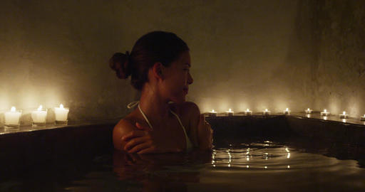 Skincare and spa - Beautiful Woman Relaxing In Hot Bath... Stock Video Footage