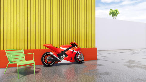 Red sports motorbike in modern cityscape no people CG動画素材