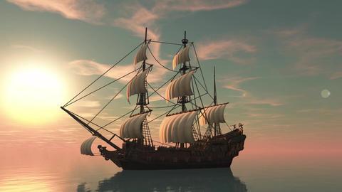 Pirates Sailboat CG動画素材