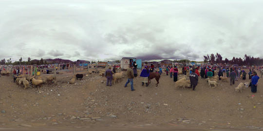 360Vr Authentic Sheep Market On Andes Highland With Ecuadorian Indigenous Footage
