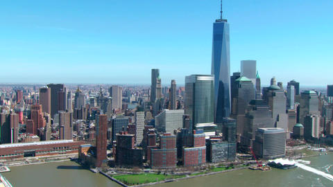 Aerial of freedom tower and new york skyline Footage