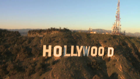 Famous hollywood sign aerial view Footage