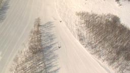 Skiing down snowy mountain Live Action